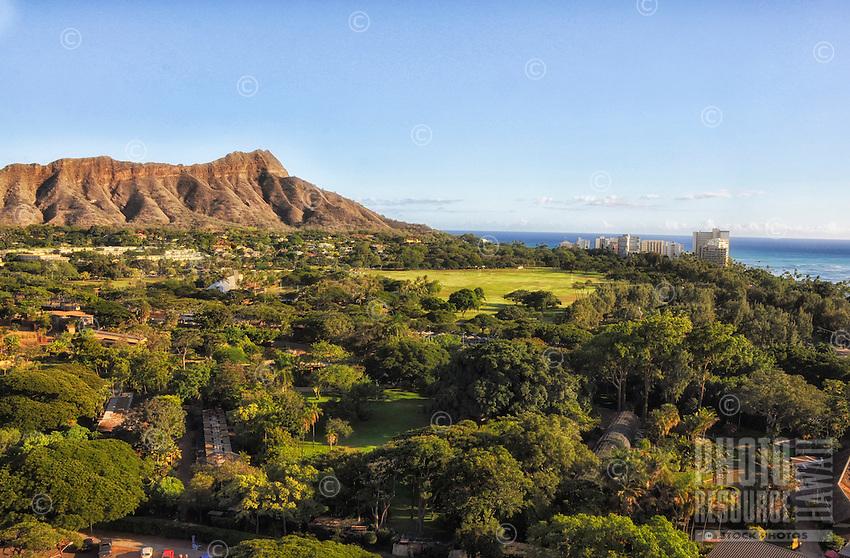 An aerial view of the Honolulu Zoo, Kapi'olani Regional Park and Diamond Head, Honolulu, O'ahu.