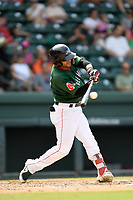 Right fielder Victor Acosta (11) of the Greenville Drive bats in a game against the Asheville Tourists on Sunday, June 3, 2018, at Fluor Field at the West End in Greenville, South Carolina. Greenville won, 7-6. (Tom Priddy/Four Seam Images)