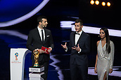 1st December 2017, State Kremlin Palace, Moscow, Russia;  Germanys former player Miroslav Klose (C) speaks after presenting the 2018 FIFA World Cup trophy during the Final Draw of the FIFA World Cup 2018 at the Kremlin Palace in Moscow, capital of Russia, Dec. 1, 2017.