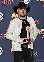 LAS VEGAS, NV - APRIL 15:  Jason Aldean in the press room at the 53rd Annual Academy of Country Music Awards at MGM Grand Garden Arena on April 15, 2018 in Las Vegas, Nevada. (Photo by Scott Kirkland/PictureGroup)