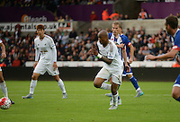 New signing Andrew Ayew chases the ball<br /> Re: Friendly match between Swansea City and  and Deportivo La Coruna 1st August 2015 at Liberty Stadium Swansea UK