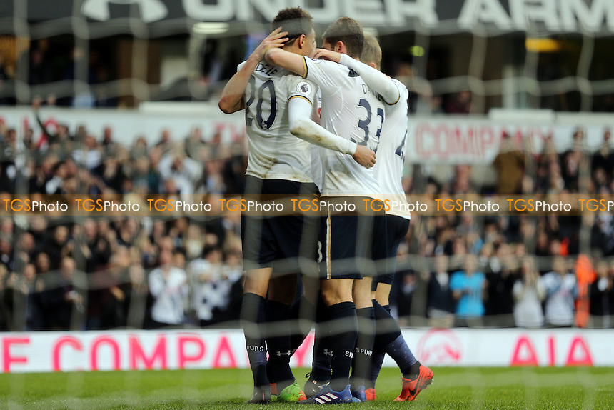 Dele Alli of Tottenham Hotspur is congratulated after scoring the fourth goal during Tottenham Hotspur vs Stoke City, Premier League Football at White Hart Lane on 26th February 2017