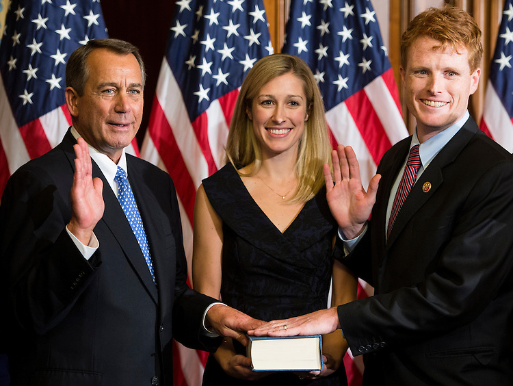 UNITED STATES - JANUARY 3: From left, Speaker of the House John Boehner, R-Ohio, left, Lauren Birchfield Kennedy, and Rep. Joseph Kennedy III, D-Mass., pose during Kennedy's ceremonial swearing-in in the Capitol on Thursday, January 3, 2013. (Photo By Bill Clark/CQ Roll Call)