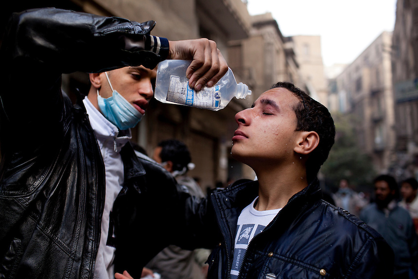 An Egyptian protester is treated for exposure to tear gas during protests near central Cairo's Tahrir Square, November 20, 2011. Photo: Ed Giles.