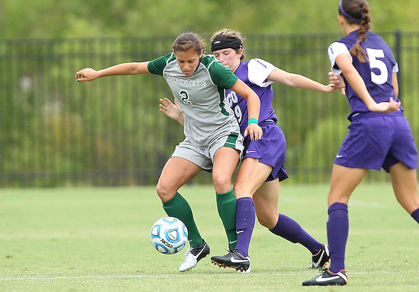 Denton, TX - SEPTEMBER 16: Shelly Holt #2 of the North Texas Mean Green soccer in action against the Texas Christian University Horned Frogs at the Mean Green Village Soccer Field University in Denton on September 16, 2012 in Denton, Texas. (Photo by Rick Yeatts)