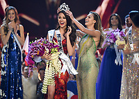 BANGKOK, THAILAND - DECEMBER 17: 2018 MISS UNIVERSE: Former Miss Universe Demi-Leigh Nel-Peters crowns the new Miss Universe Catriona Gray of the Philippines onstage on the 2018 MISS UNIVERSE competition at the Impact Arena in Bangkok, Thailand on December 17, 2018. (Photo by Frank Micelotta/FOX/PictureGroup)