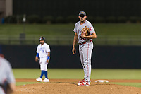 AFL East relief pitcher Brett Hanewich (53), of the Mesa Solar Sox and Los Angeles Angels organization, looks in for the sign during the Fall Stars game at Surprise Stadium on November 3, 2018 in Surprise, Arizona. The AFL West defeated the AFL East 7-6 . (Zachary Lucy/Four Seam Images)