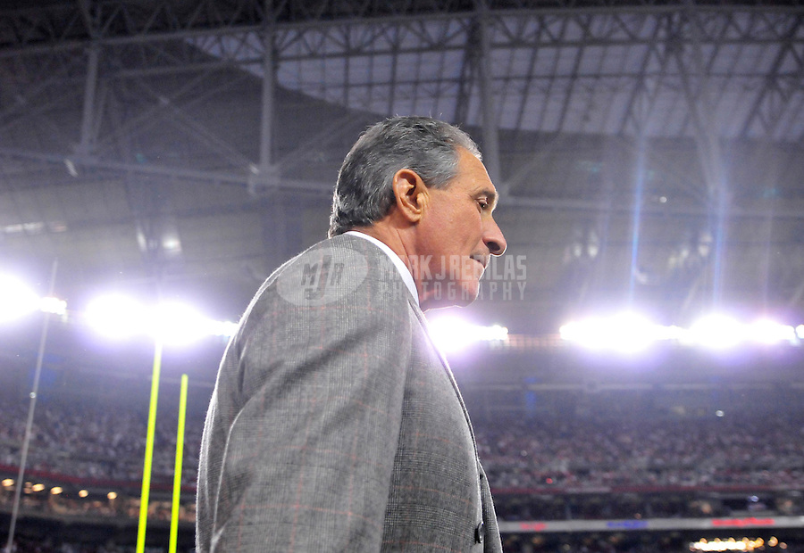 Jan. 3, 2009; Glendale, AZ, USA; Atlanta Falcons owner Arthur Blank on the sidelines in the fourth quarter against the Arizona Cardinals during the NFC Wild Card Playoff Game at University of Phoenix Stadium. The Cardinals defeated the Falcons 30-24. Mandatory Credit: Mark J. Rebilas-