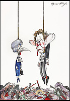 BNPS.co.uk (01202 558833)<br /> Pic: Sothebys/BNPS<br /> <br /> 'Poll tax and fuel tax' - Margaret Thatcher and Tony Blair.<br /> <br /> A collection of more than 130 drawings by one of Britain's most celebrated cartoonists has emerged for auction and are tipped to sell for &pound;850,000.<br /> <br /> The collection of Gerald Scarfe - who has worked as a cartoonist for the Sunday Times for 44 years - includes satirical portraits of leading political figures from Winston Churchill to Theresa May, as well as examples of his work on Disney film Hercules and Pink Floyd's animation film The Wall.<br /> <br /> While many of the drawings included in the auction have been published, a number of works included in the sale are unseen.<br /> <br /> Those who have been immortalised in his cartoons include Donald Trump, Barack Obama, George Bush, David Cameron, Tony Blair, Margaret Thatcher, Boris Johnson, Nigel Farage, George Osborne and Jeremy Corbyn.