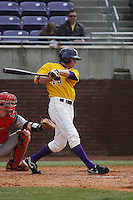 East Carolina University Pirates infielder Philip Clark #18 at bat during a game against the Stony Brook Seawolves  at Clark-LeClair Stadium on March 4, 2012 in Greenville, NC.  East Carolina defeated Stony Brook 4-3. (Robert Gurganus/Four Seam Images)