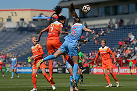 Bridgeview, IL - Saturday May 06, 2017: Bruna Benites, Katie Naughton during a regular season National Women's Soccer League (NWSL) match between the Chicago Red Stars and the Houston Dash at Toyota Park. The Red Stars won 2-0.
