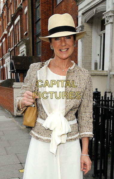 LORRAINE CHASE .At the Aegon Queen's Club Tennis Championship Final, Queen's Club, Palliser Road, London, England, UK, June 14th 2009..half length hat trilby white dress beige  jacket brown tan panama tweed wool bow .CAP/CAN.©Can Nguyen/Capital Pictures