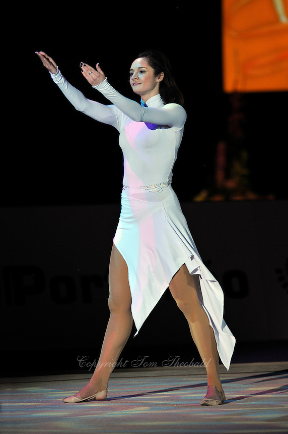 Anna Bessonova of Ukraine performs gala exhibition (waves to fans) at 2010 World Cup at Portimao, Portugal on March 14, 2010.  (Photo by Tom Theobald).