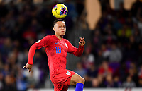 ORLANDO, FL - NOVEMBER 15: Sergino Dest #18 of the United States moves to the ball during a game between Canada and USMNT at Exploria Stadium on November 15, 2019 in Orlando, Florida.