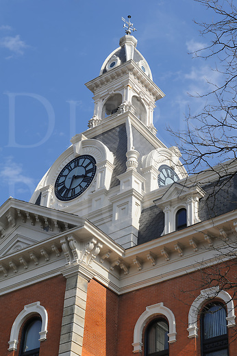 Courthouse building clock tower in fancy 1800's Victorian architectural style, county government offices in Ridgway, Pennsylvania, PA, USA.