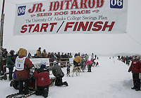 Saturday February 25, 2006 Willow, Alaska.   Charlie Allison at the start line of the Junior Iditarod sled dog race.  Willow Lake.