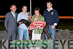 TOP DOG: Geraldine O'Shea, The Spa the mother of Darragh O'Shea owner and trainer of Spa Rebel collecting his winning trophy from Pa Sheehan of the Real Burger Company at Laune Rangers Night at the Dogs at the Kingdom Greyhound Stadium on Saturday l-r: Joe Crowley (Chairman Laune Rangers), Geraldine O'Shea, Pa Sheehan and Podge Foley (Laune Rangers).   Copyright Kerry's Eye 2008
