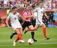20170719 - UTRECHT , NETHERLANDS : English Jodie Taylor (9) pictured scoring the first goal during the female soccer game between England and Scotland  , the frist game in group D at the Women's Euro 2017 , European Championship in The Netherlands 2017 , Wednesday 19 th June 2017 at Stadion De Galgenwaard  in Utrecht , The Netherlands PHOTO SPORTPIX.BE | DIRK VUYLSTEKE
