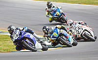 Josh Hayes leads a pack ofmotorcycles at the AMA Superbike Showdown at Road Atlanta, Braselton, GA, April 2010.  (Photo by Brian Cleary/www.bcpix.com)