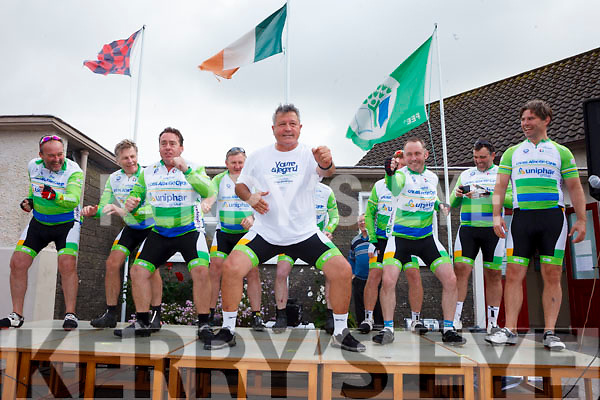 All Black rugby legend Zinzan Brooke and former Ireland professional rugby player Liam Toland performed the Haka with other rugby legends at Tarbert National School on Wednesday during a stop off on the Cross Atlantic Cycle in support of Cross Charity and Cancer Research at Trinity College and St. James Hospital.