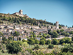 Hilltop monastery, church, village of Assisi, Italy.