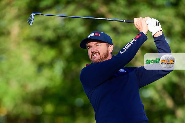 Jimmy Walker (USA) watches his tee shot on 4 during the Saturday morning foursomes at the Ryder Cup, Hazeltine National Golf Club, Chaska, Minnesota, USA.  10/1/2016<br /> Picture: Golffile | Ken Murray<br /> <br /> <br /> All photo usage must carry mandatory copyright credit (&copy; Golffile | Ken Murray)