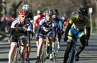 Vermont's Jeff Meyer-Lorentson, Penn State's Matt Mackenzie and MIT's Arthur Anderson lead the pack during the Men's D Criterium race at the Nittany Cycling Classic hosted by Penn State Cycling in State College, Pa., on April 20, 2014. Photo/©2014 Craig Houtz
