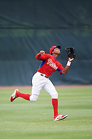 GCL Phillies left fielder Malvin Matos (39) catches a fly ball during a game against the GCL Braves on August 3, 2016 at the Carpenter Complex in Clearwater, Florida.  GCL Phillies defeated GCL Braves 4-3 in a rain shortened six inning game.  (Mike Janes/Four Seam Images)