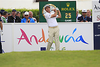 Gonzalo Fernandez-Castano (ESP) on the 1st tee during Sunday's storm delayed Final Round 3 of the Andalucia Valderrama Masters 2018 hosted by the Sergio Foundation, held at Real Golf de Valderrama, Sotogrande, San Roque, Spain. 21st October 2018.<br /> Picture: Eoin Clarke | Golffile<br /> <br /> <br /> All photos usage must carry mandatory copyright credit (&copy; Golffile | Eoin Clarke)