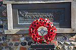 US 487th Bomb Group memorial with wreath of poppies, Lavenham, Suffolk, England