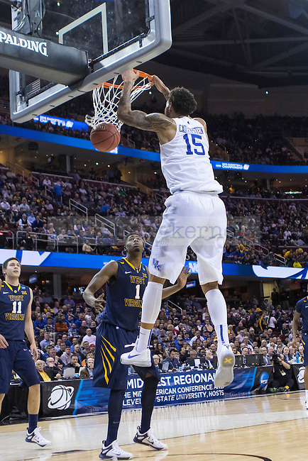 Willie Cauley-Stein of the Kentucky Wildcats dunks the ball during the Sweet 16 of the 2015 NCAA Men's Basketball Tournament against the West Virginia Mountaineers at Quickens Loans Arena on Thursday, March 26, 2015 in Cleveland, Ky. Photo by Michael Reaves | Staff.
