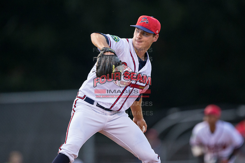 Danville Braves relief pitcher Taylor Hyssong (20) in action against the Elizabethton Twins at American Legion Post 325 Field on July 1, 2017 in Danville, Virginia.  The Twins defeated the Braves 7-4.  (Brian Westerholt/Four Seam Images)