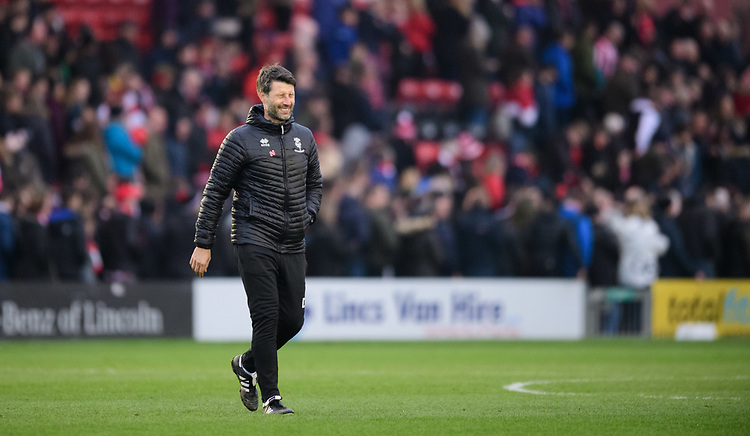 Lincoln City manager Danny Cowley walks off the pitch at the end of the game<br /> <br /> Photographer Chris Vaughan/CameraSport<br /> <br /> The EFL Sky Bet League Two - Lincoln City v Mansfield Town - Saturday 24th November 2018 - Sincil Bank - Lincoln<br /> <br /> World Copyright © 2018 CameraSport. All rights reserved. 43 Linden Ave. Countesthorpe. Leicester. England. LE8 5PG - Tel: +44 (0) 116 277 4147 - admin@camerasport.com - www.camerasport.com