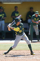 Austin Grebek (22) of the Oregon Ducks bats during a game against the Southern California Trojans at Dedeaux Field on April 18, 2015 in Los Angeles, California. Oregon defeated Southern California, 15-4. (Larry Goren/Four Seam Images)