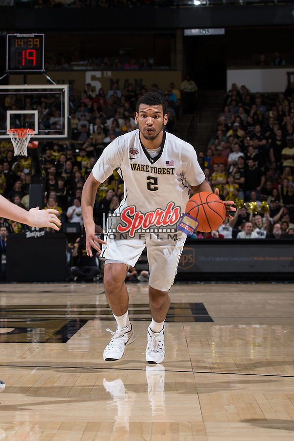 Devin Thomas (2) of the Wake Forest Demon Deacons on offense during second half action against the Xavier Musketeers at the LJVM Coliseum on December 22, 2015 in Winston-Salem, North Carolina.  The Musketeers defeated the Demon Deacons 78-70.  (Brian Westerholt/Sports On Film)