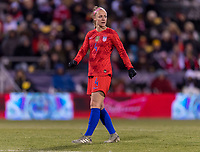 COLUMBUS, OH - NOVEMBER 07: Becky Sauerbrunn #4 of the United States looks for the ball during a game between Sweden and USWNT at Mapfre Stadium on November 07, 2019 in Columbus, Ohio.