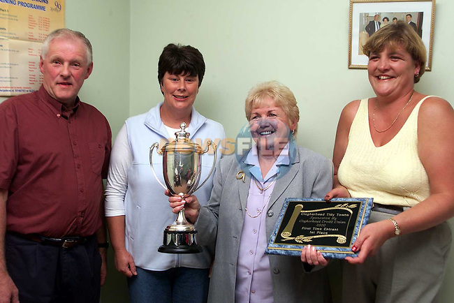 Francis Rafferty who was 1st in the First Time Enterant and winer of the overall Perpetual Cup in the Clogherhead Millenium Garden and Hanging Basket Competition. Also pictured are Gerard Murphy and judges Mary Fitzpatrick and Ann Coogan..Picture: Paul Mohan Newsfile