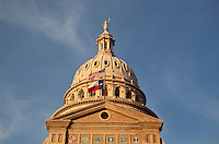 Goddess of Liberty Statue proudly stands atop the Texas State Capitol overlooking the City of Austin, Texas.