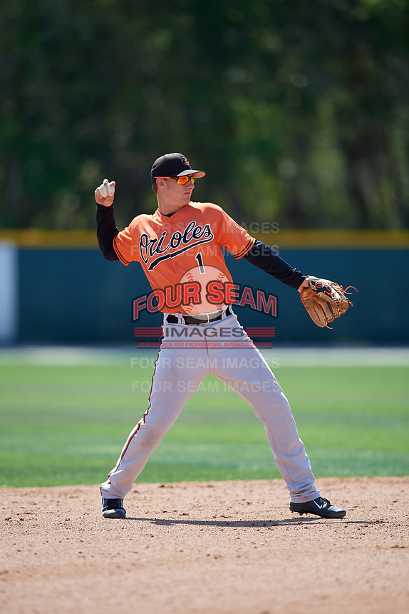 Baltimore Orioles Branden Becker (1) throws to first base during a minor league Spring Training game against the Tampa Bay Rays on March 29, 2017 at the Buck O'Neil Baseball Complex in Sarasota, Florida.  (Mike Janes/Four Seam Images)