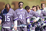 Anthony Porchetta (41) of the High Point Panthers and his teammates stand for the National Anthem prior to their game against the UMBC Retrievers at Vert Track, Soccer & Lacrosse Stadium on March 15, 2014 in High Point, North Carolina.  The Panthers defeated the Retrievers 17-15.   (Brian Westerholt/Sports On Film)