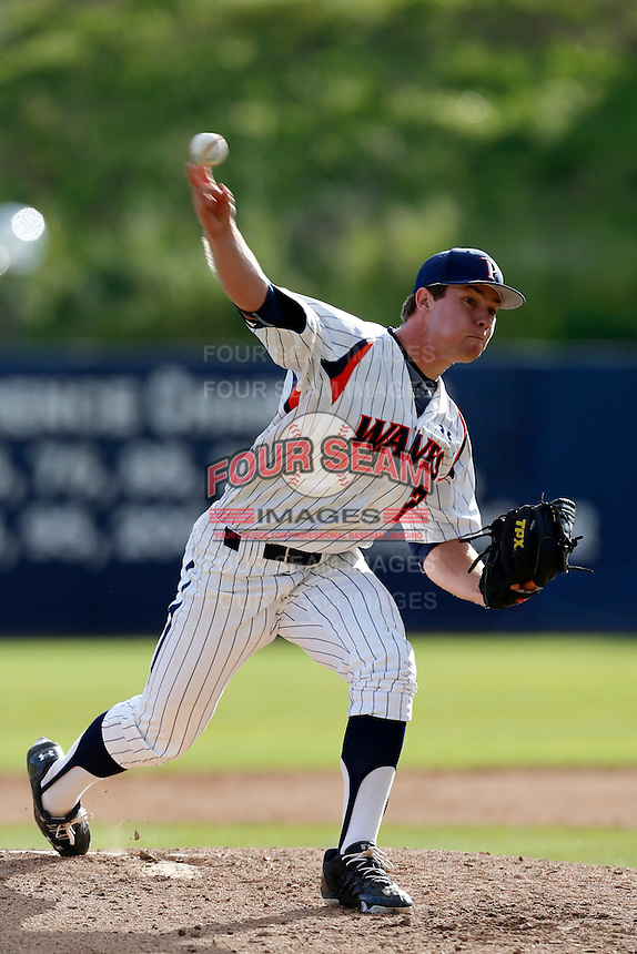 Mat Snider #22 of the Pepperdine Waves pitches against the Seton Hall Pirates at Eddy D. Field Stadium on March 8, 2013 in Malibu, California. (Larry Goren/Four Seam Images)