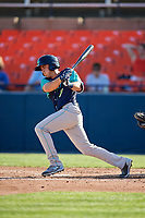 Lynchburg Hillcats right fielder Jodd Carter (7) follows through on a swing during the first game of a doubleheader against the Frederick Keys on June 12, 2018 at Nymeo Field at Harry Grove Stadium in Frederick, Maryland.  Frederick defeated Lynchburg 2-1.  (Mike Janes/Four Seam Images)