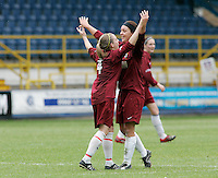 09 MAY 2007 - LONDON, UK - Saskia Philip  (right) celebrates scoring Loughboroughs third goal with Jennifer Anslow- Loughborough University (Maroon) v Brighton University (Purple) - BUSA Womens Football Championships. (PHOTO (C) NIGEL FARROW)