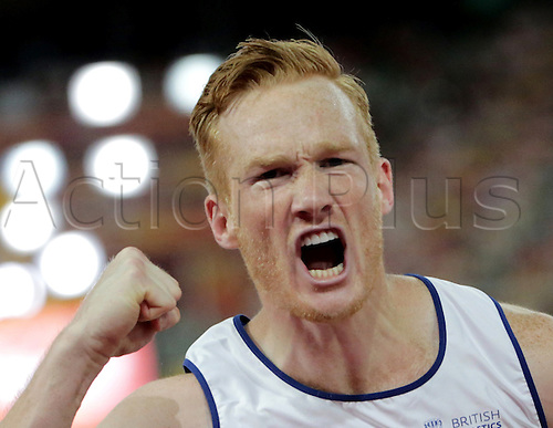 25.08.2015. Beijing, China.  Greg Rutherford of Great Britain reacts during the men's Long Jump final of the Beijing 2015 IAAF World Championships at the National Stadium, also known as Bird's Nest, in Beijing, China, 25 August 2015.