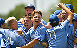 Columbia baseball players celebrate after they defeated Highland in the Class 3A Baseball Regional Championship game on  Saturday May 26, 2018. Tim Vizer | Special to STLhighschoolsports.com