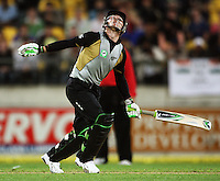 NZ's Brendon McCullum watches a shot go high during 2nd Twenty20 cricket match match between New Zealand Black Caps and West Indies at Westpac Stadium, Wellington, New Zealand on Friday, 27 February 2009. Photo: Dave Lintott / lintottphoto.co.nz