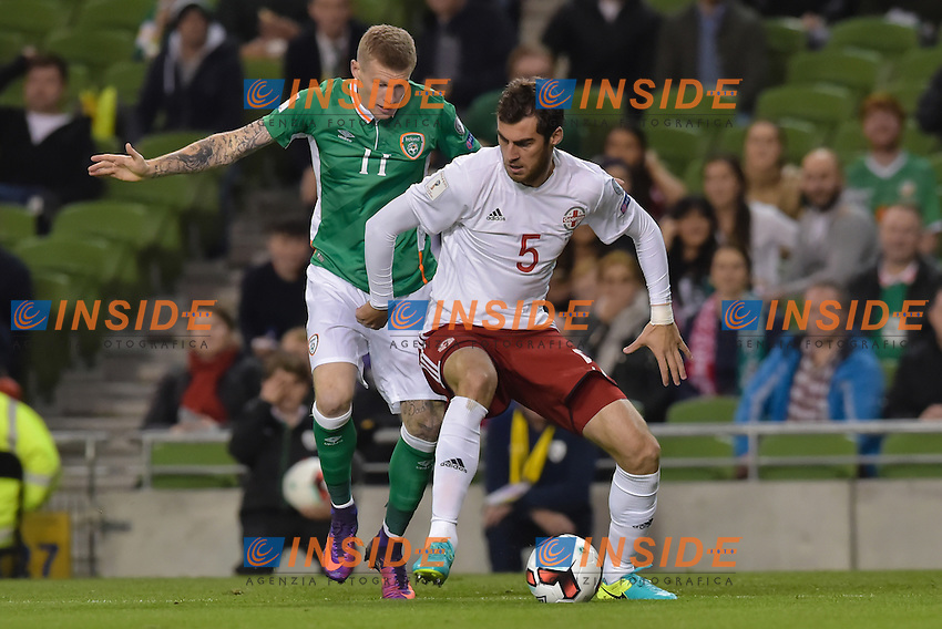Solomon Kvirkvelia of Georgia tackled by James McClean of Republic of Ireland during the FIFA World Cup 2018 Qualifying Group D match between Republic of Ireland and Georgia at Aviva Stadium on October 6th 2016 in Dublin, Ireland. <br /> Dublino 06-10-2016 Calcio Qualificazioni mondiali <br /> Irlanda Georgia <br /> Foto PHCImages/Panoramic/Insidefoto <br /> ITALY ONLY