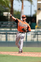 Baltimore Orioles shortstop Guillermo Salas (21) during an Instructional League game against the Tampa Bay Rays on September 15, 2014 at Ed Smith Stadium in Sarasota, Florida.  (Mike Janes/Four Seam Images)