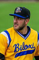 Biloxi Shuckers first baseman Dustin DeMuth (11) during a Southern League game against the Tennessee Smokies on May 25, 2017 at Smokies Stadium in Kodak, Tennessee.  Tennessee defeated Biloxi 10-4. (Brad Krause/Krause Sports Photography)