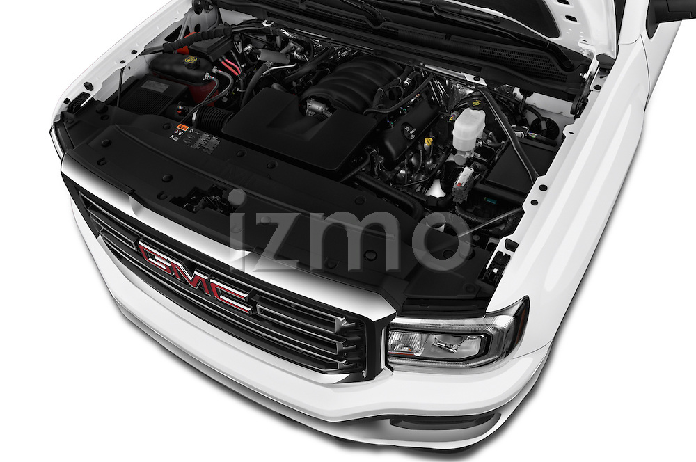 Car Stock 2017 GMC Sierra-1500 Double-Cab 4 Door Pickup Engine  high angle detail view
